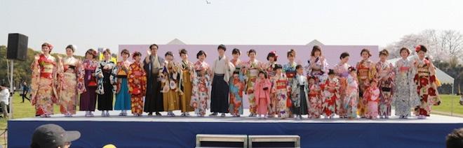 福岡城和装フェスティバル2019でファッションショー